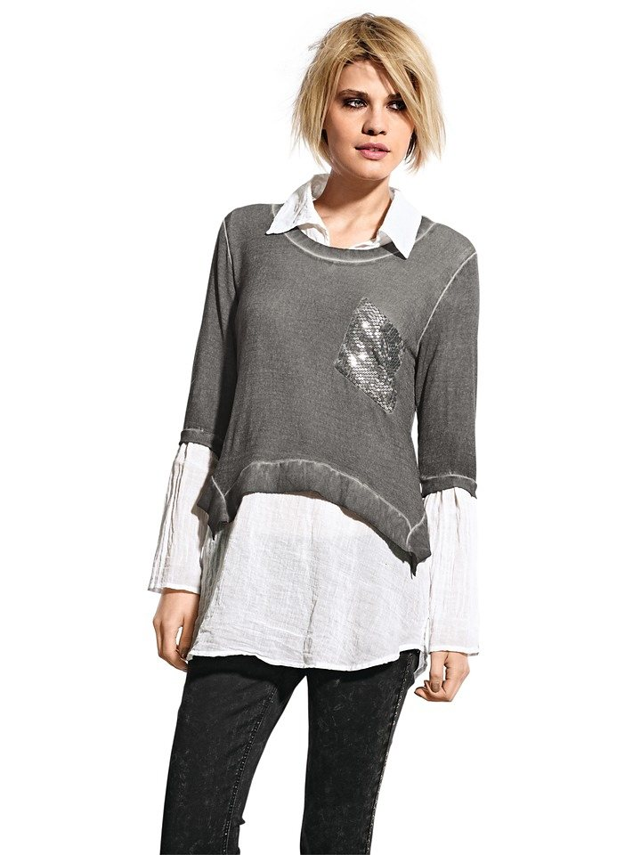B.C. BEST CONNECTIONS by Heine Shirt mit Bluse, 2-teilig in grau-melange