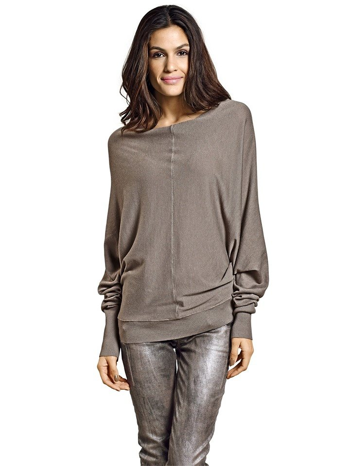Oversized-Pullover in taupe