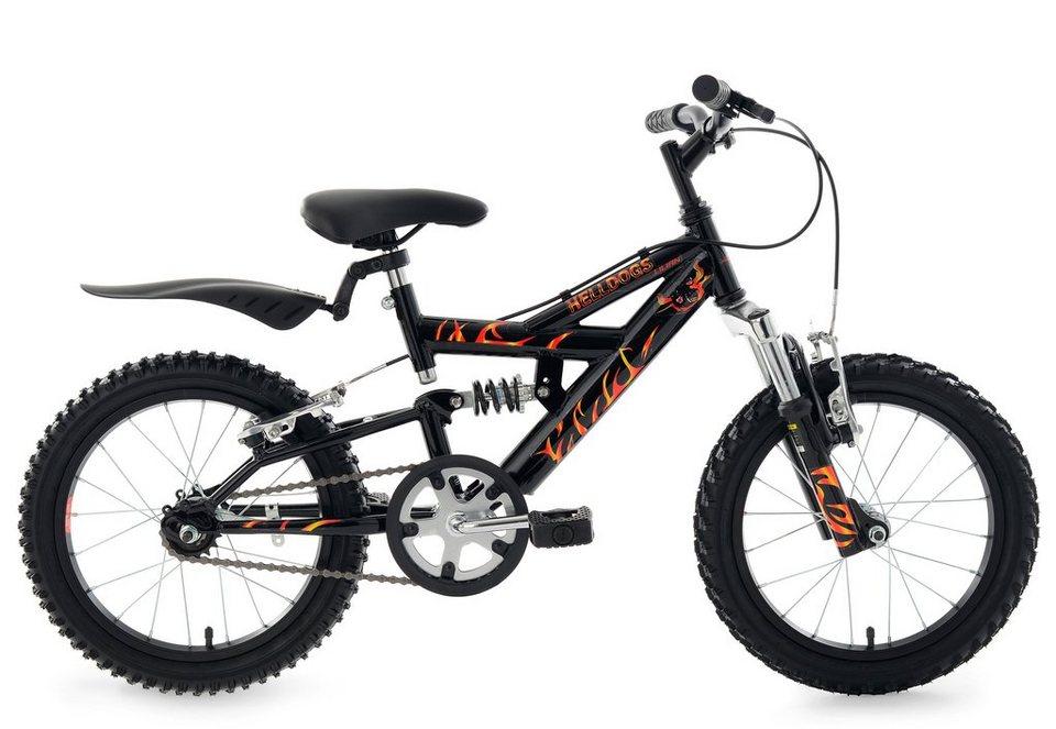Kinderfahrrad, MTB, KS Cycling, »Helldogs«, 16 Zoll, schwarz, ohne Schaltung, Rücktritt in schwarz