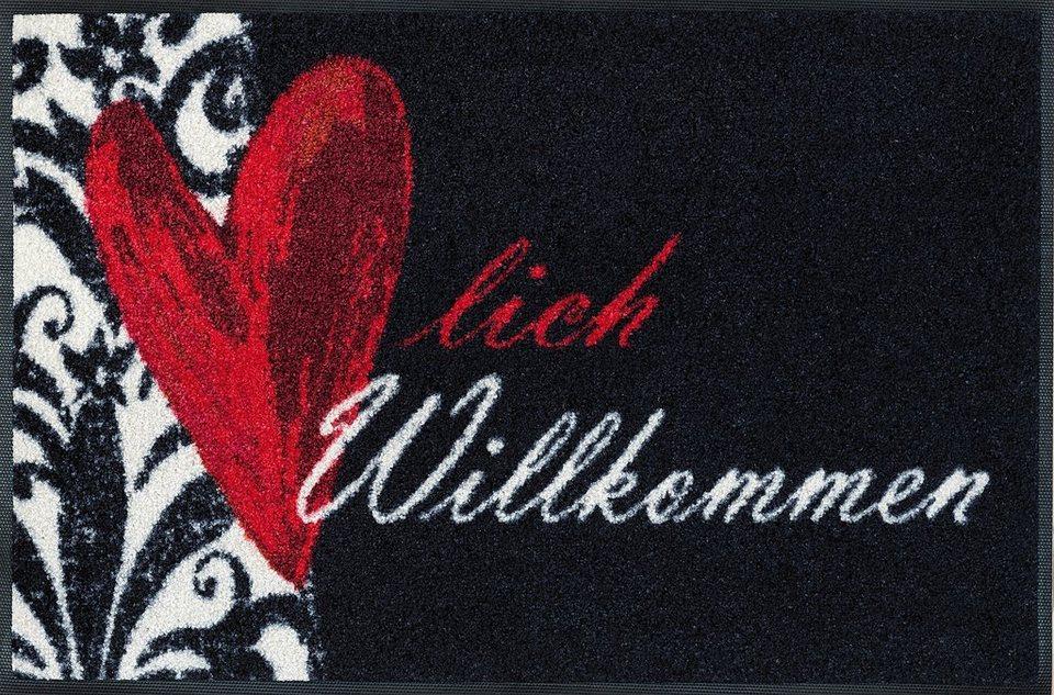 Fußmatte »Herzlich Willkommen«, wash+dry by Kleen-Tex, rechteckig, Höhe 9 mm in schwarz-rot