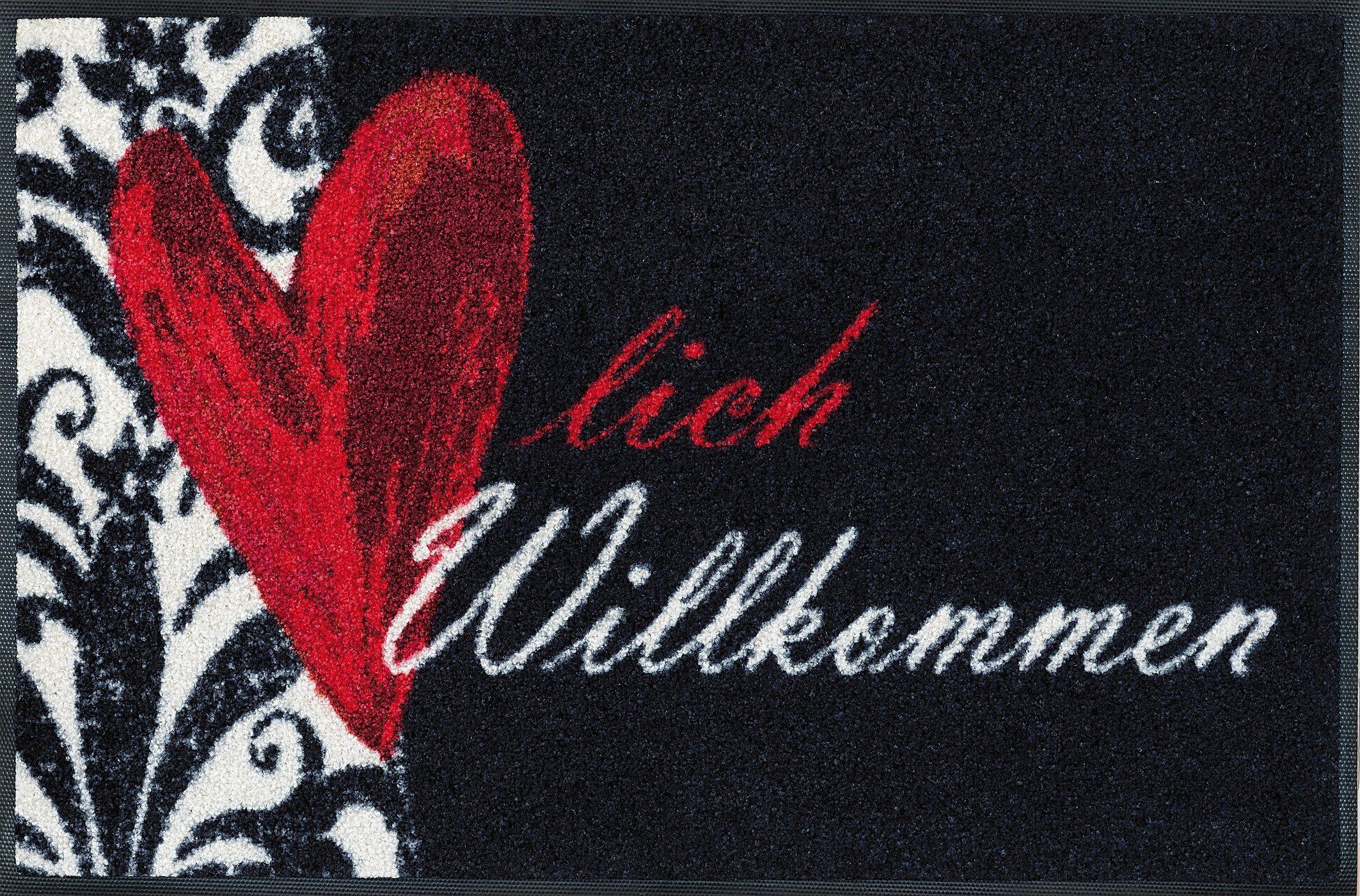 Fußmatte »Herzlich Willkommen«, wash+dry by Kleen-Tex, rechteckig, Höhe 9 mm