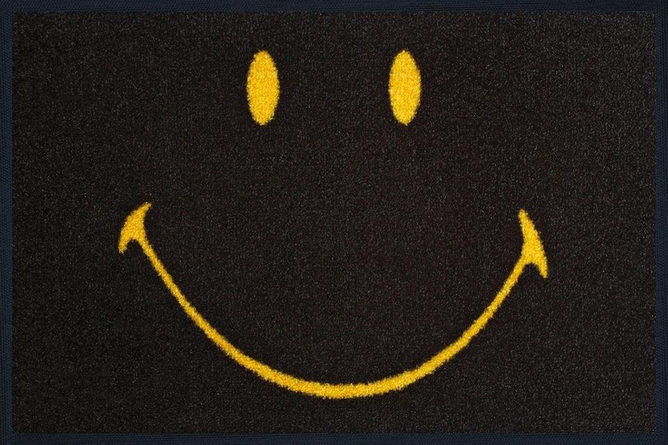 Fußmatte »Smiley Face positive«, wash+dry by Kleen-Tex, rechteckig, Höhe 7 mm in schwarz