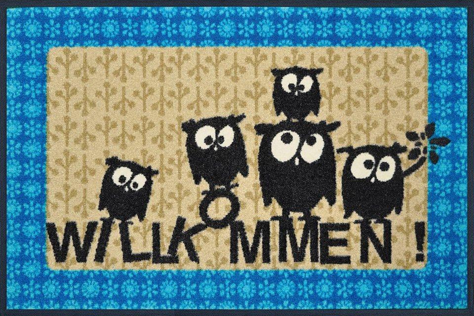 Fußmatte, wash+dry by Kleen-Tex, »Lotta, Mathilda & Co.«, rutschhemmend beschichtet in beige-blau