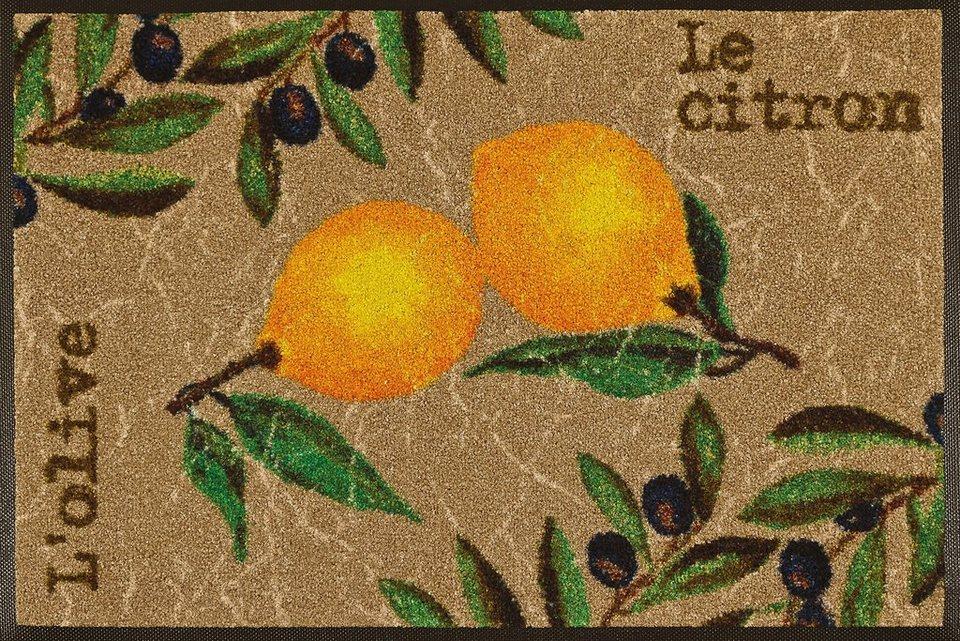 Fußmatte »Le Citron«, wash+dry by Kleen-Tex, rechteckig, Höhe 7 mm in beige-gelb