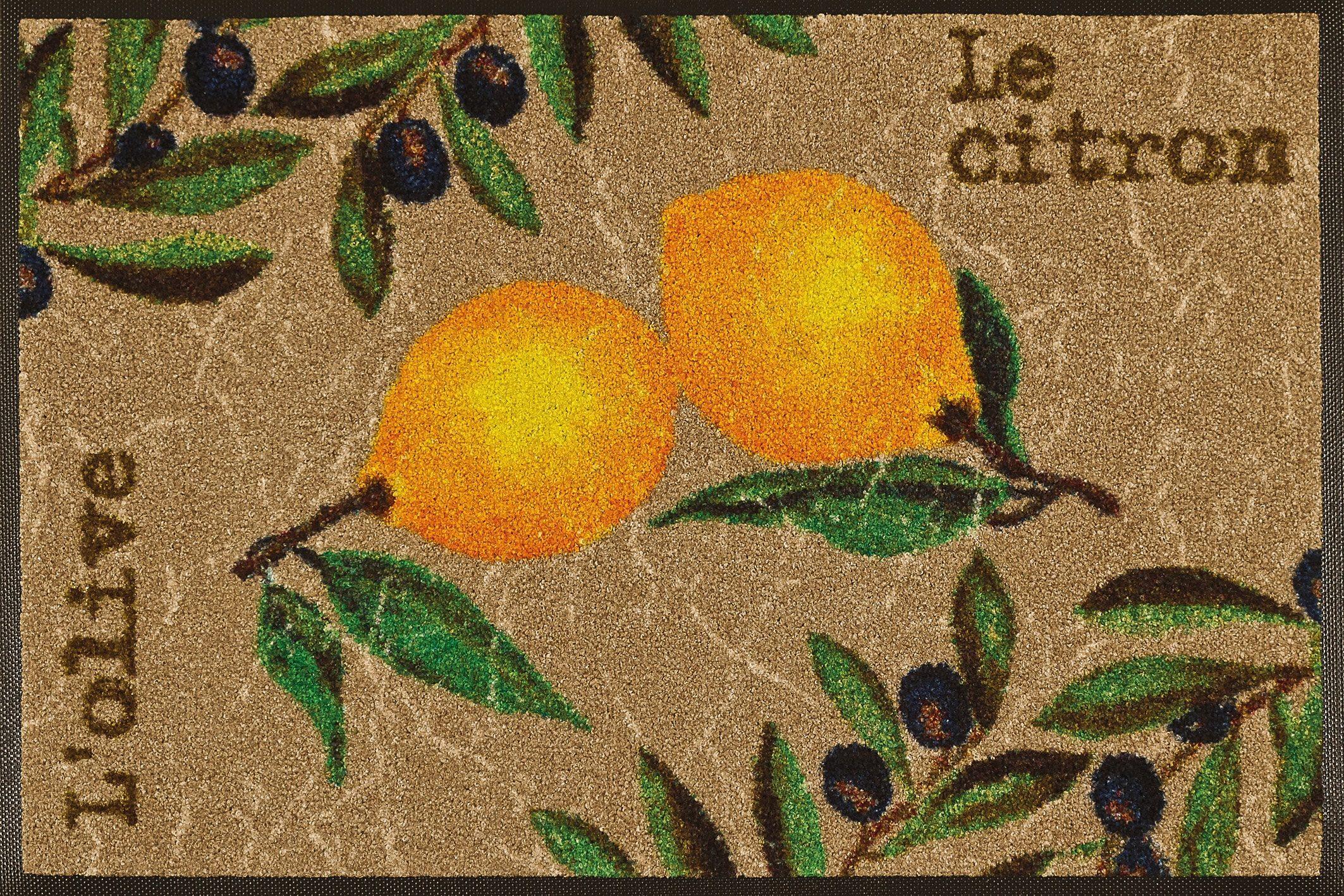 Fußmatte »Le Citron«, wash+dry by Kleen-Tex, rechteckig, Höhe 7 mm