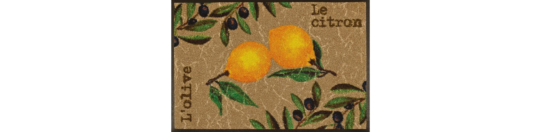 Fußmatte, wash+dry by Kleen-Tex, »Le Citron«, rutschhemmend beschichtet