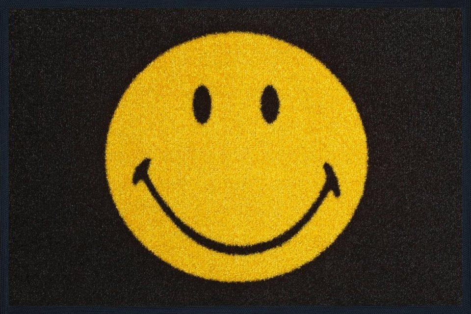 Fußmatte »Smiley«, wash+dry by Kleen-Tex, rechteckig, Höhe 7 mm in gelb