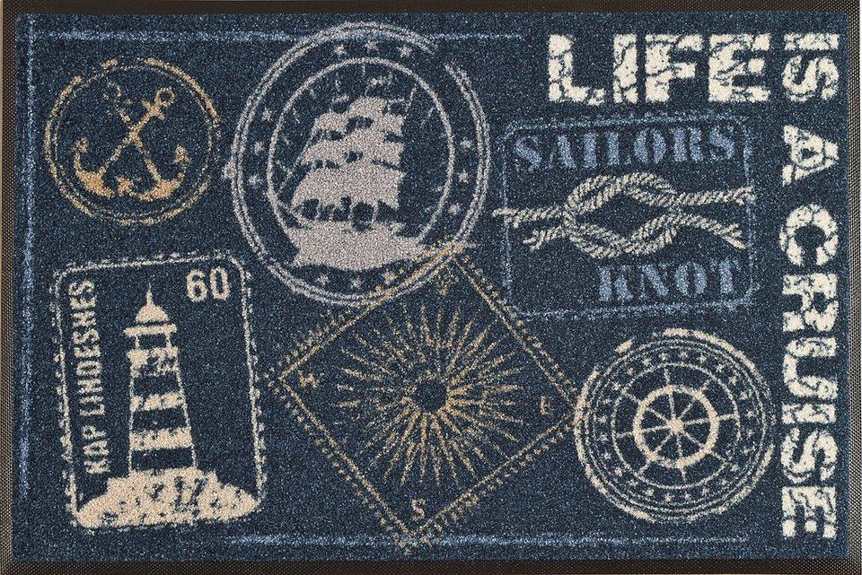 Fußmatte »Life is a Cruise«, wash+dry by Kleen-Tex, rechteckig, Höhe 7 mm in blau-weiß
