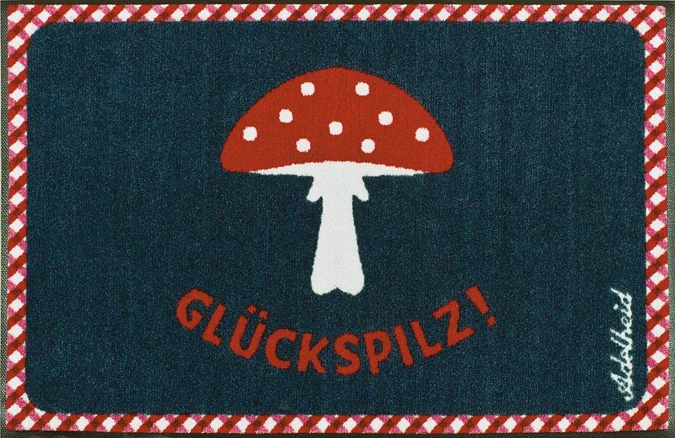 Fußmatte »Glückspilz«, wash+dry by Kleen-Tex, rechteckig, Höhe 9 mm in blau-rot