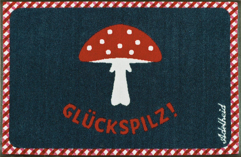 Fußmatte »Glückspilz«, wash+dry by Kleen-Tex, rechteckig, Höhe 9 mm