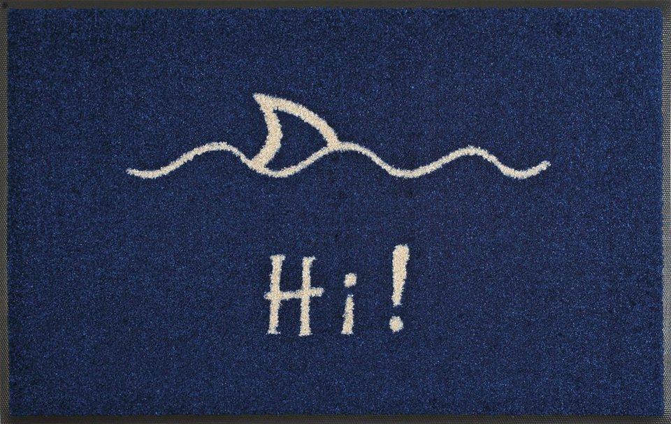 Fußmatte, wash+dry by Kleen-Tex, »Hi!«, rutschhemmend beschichtet in blau-weiß