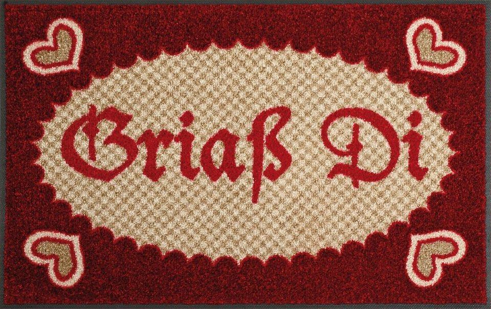 Fußmatte »Griaß di«, wash+dry by Kleen-Tex, rechteckig, Höhe 9 mm in rot-beige