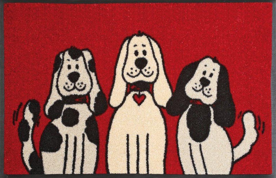 Fußmatte »Three Dogs«, wash+dry by Kleen-Tex, rechteckig, Höhe 9 mm in rot-beige