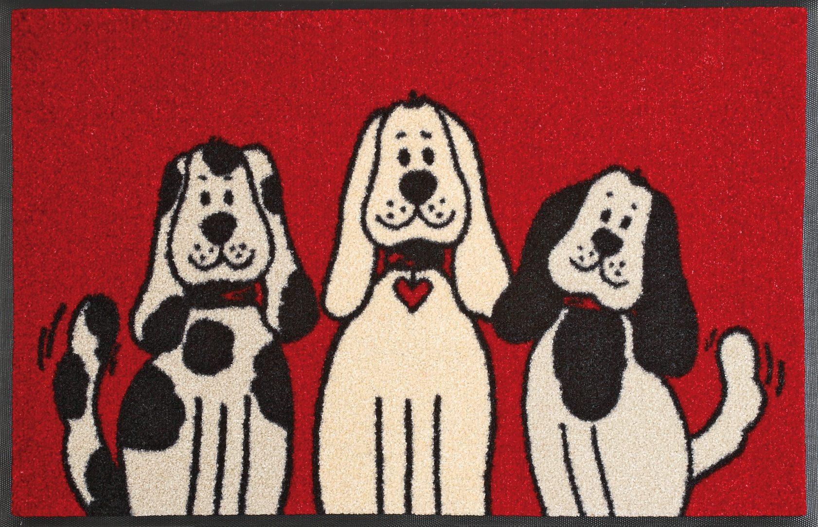 Fußmatte »Three Dogs«, wash+dry by Kleen-Tex, rechteckig, Höhe 9 mm