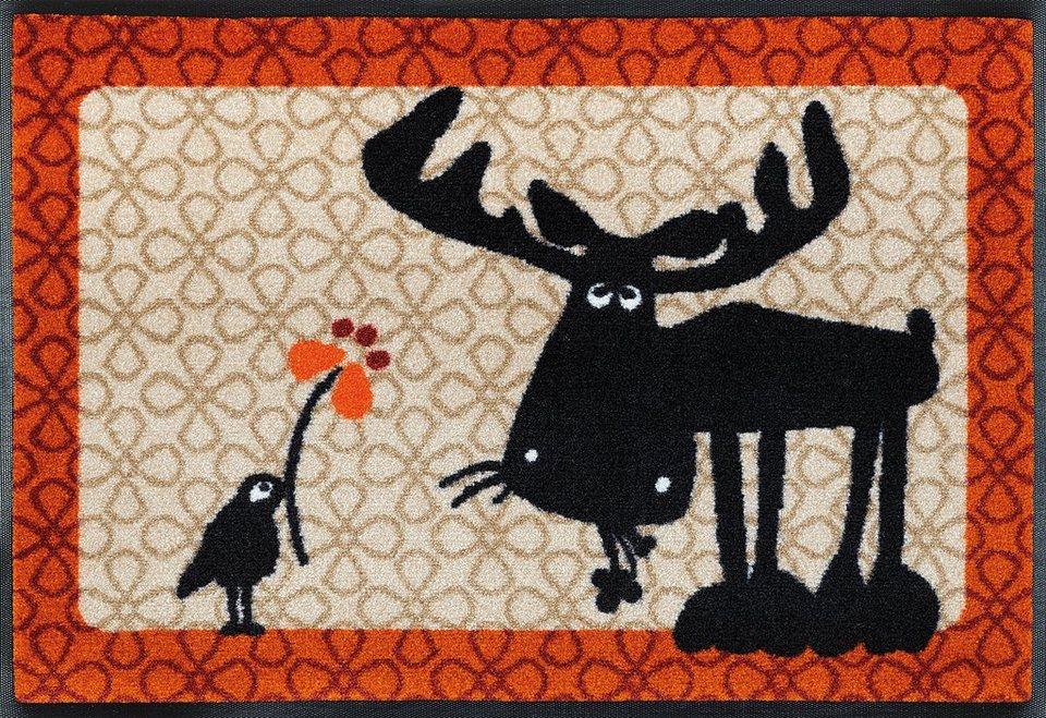 Fußmatte, wash+dry by Kleen-Tex, »Elch Heinrich & Fred«, rutschhemmend beschichtet in orange