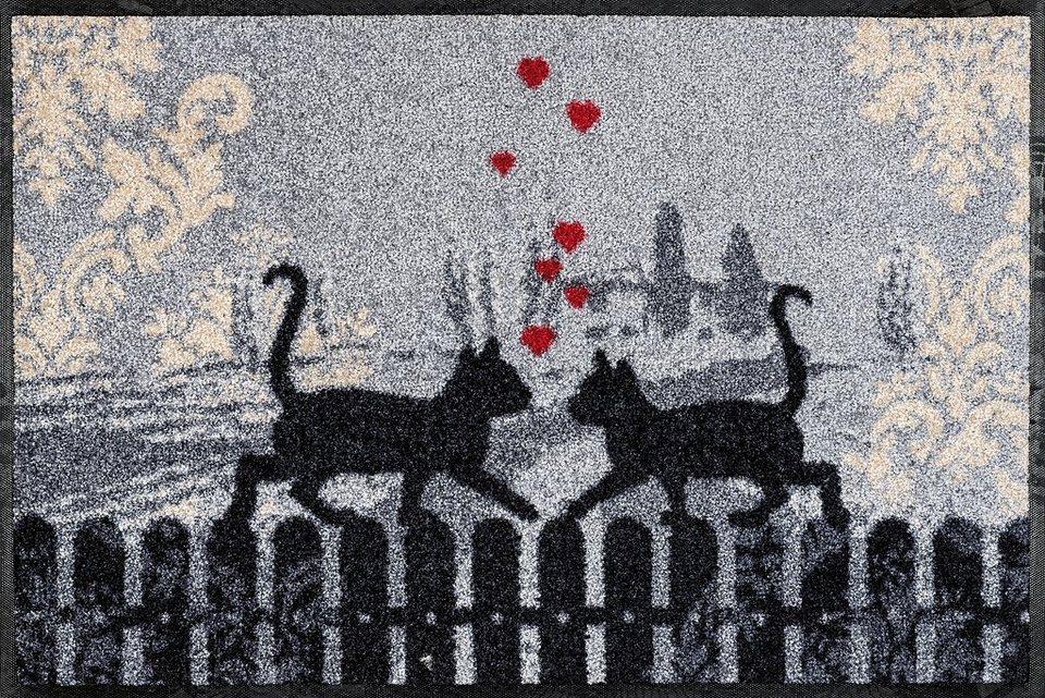 Fußmatte »Cats in Love«, wash+dry by Kleen-Tex, rechteckig, Höhe 9 mm in grau