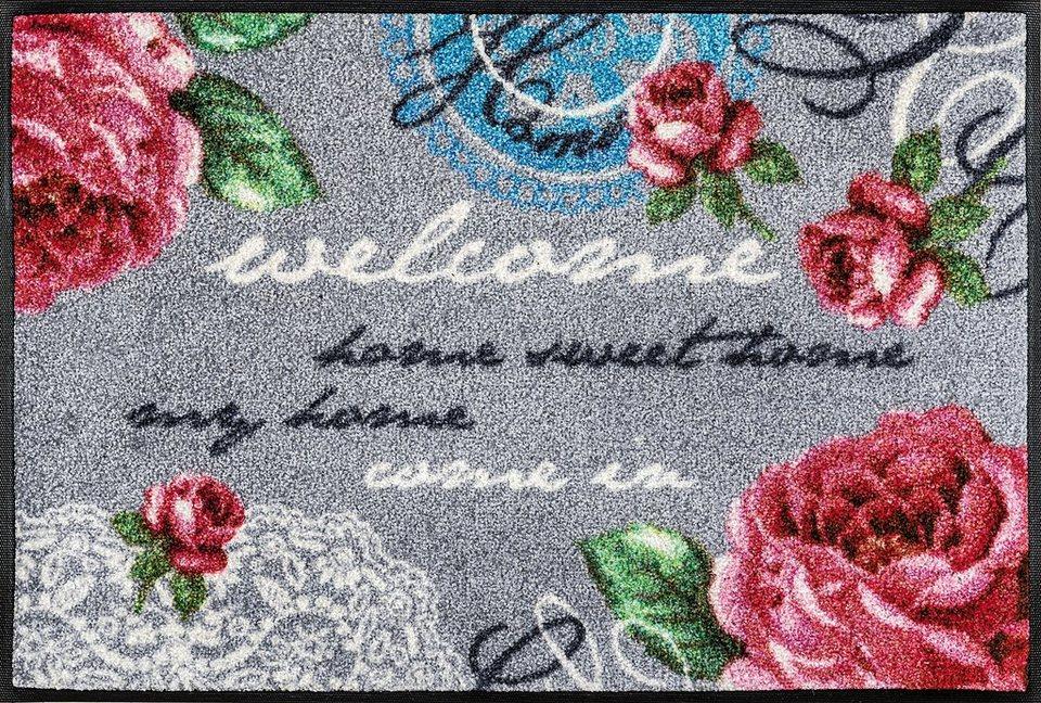 Fußmatte, wash+dry by Kleen-Tex, »Nordic Romance«, rutschhemmend beschichtet in grau-weiß