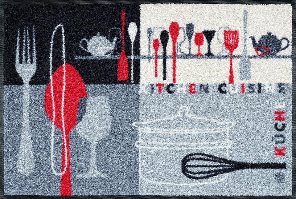 Fußmatte, wash+dry by Kleen-Tex, »Kitchen Crockery«, rutschhemmend beschichtet in grau-weiß