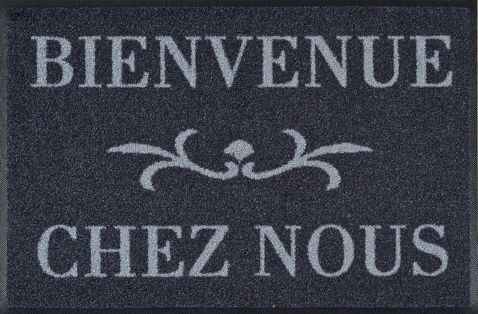 Fußmatte »Bienvenue«, wash+dry by Kleen-Tex, rechteckig, Höhe 9 mm in grau-weiß