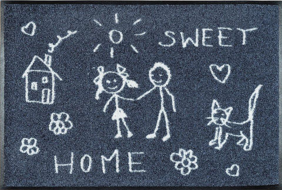 Fußmatte »Sweet Home«, wash+dry by Kleen-Tex, rechteckig, Höhe 9 mm in grau-weiß