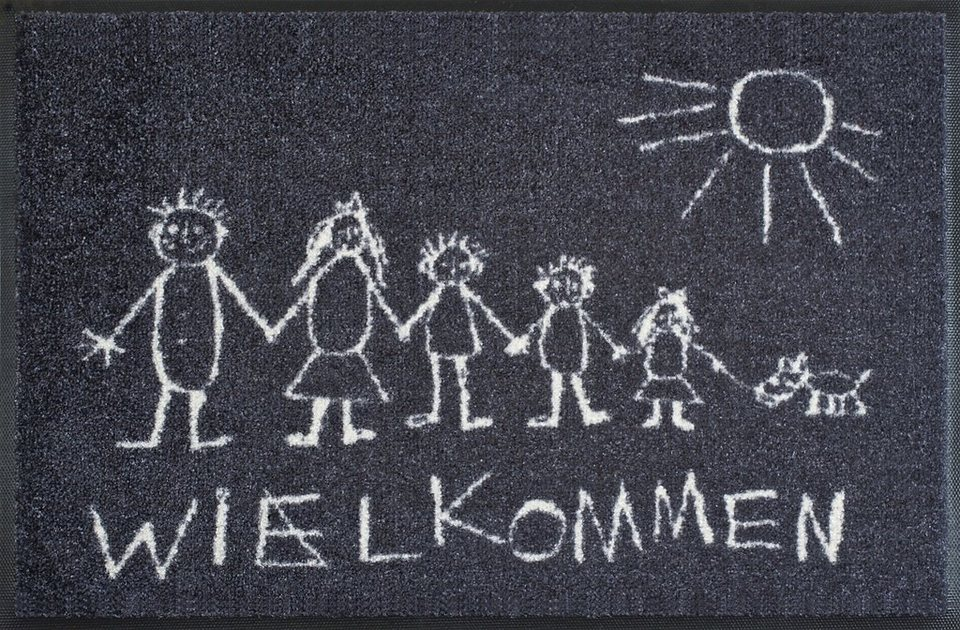Fußmatte »Wielkommen«, wash+dry by Kleen-Tex, rechteckig, Höhe 9 mm in grau-weiß