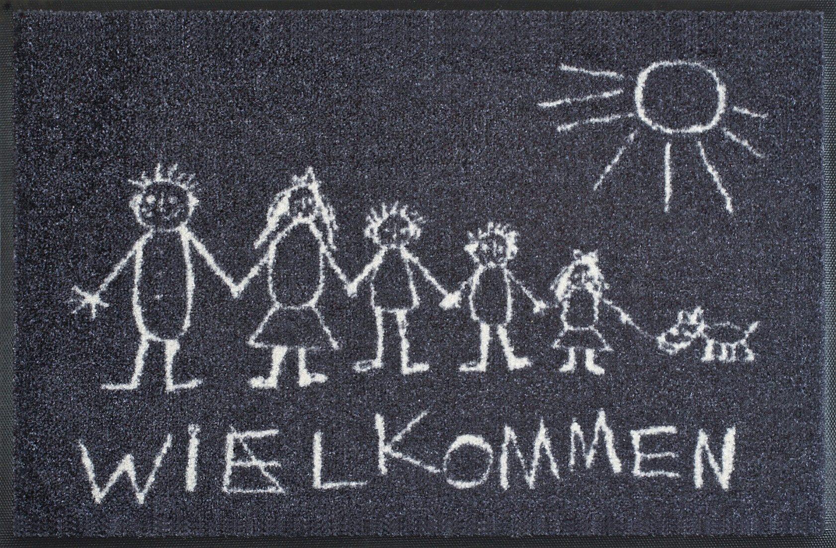 Fußmatte »Wielkommen«, wash+dry by Kleen-Tex, rechteckig, Höhe 9 mm