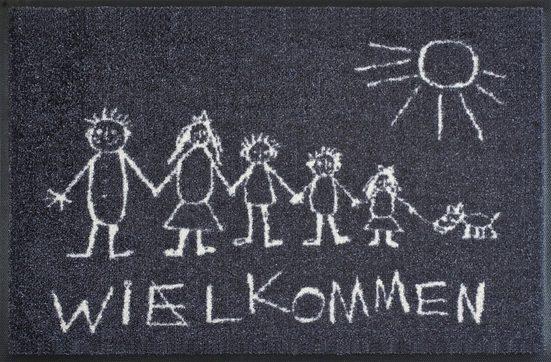 Fußmatte »Wielkommen«, wash+dry by Kleen-Tex, rechteckig, Höhe 9 mm, In- und Outdoor geeignet