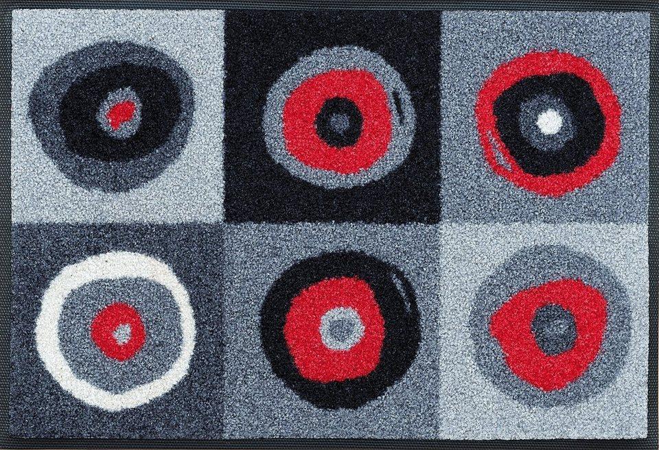Fußmatte »Sergej«, WASH + DRY BY KLEEN-TEX, rechteckig, Höhe 7 mm in grau-rot