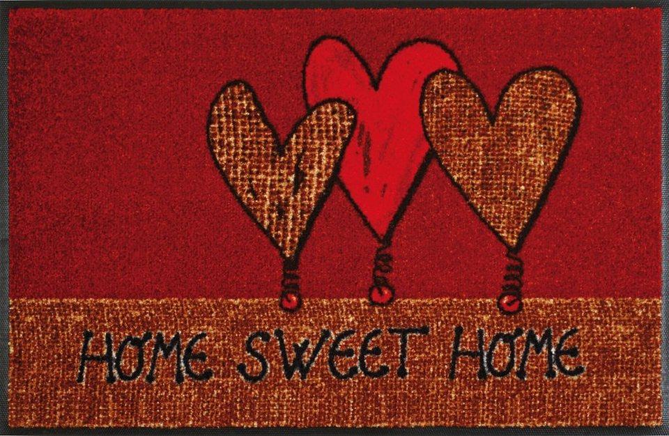 Fußmatte »Home Hearts«, WASH + DRY BY KLEEN-TEX, rechteckig, Höhe 9 mm in braun-rot