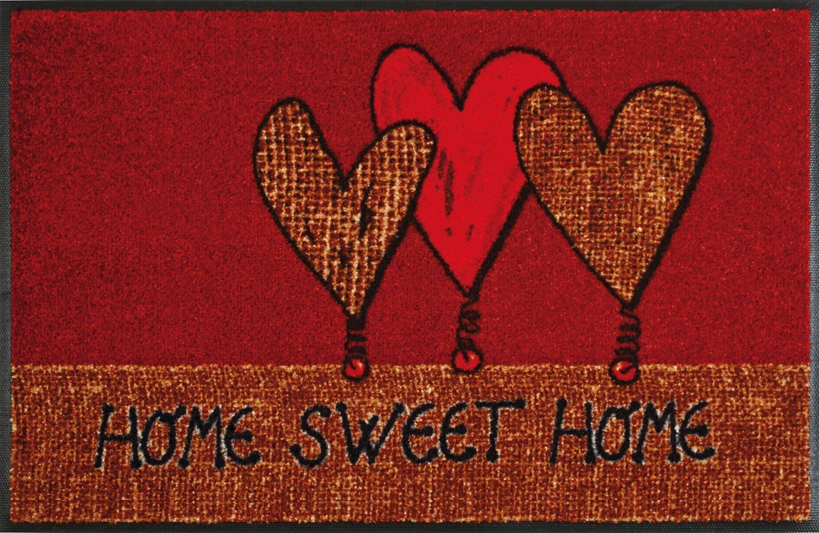 Fußmatte »Home Hearts«, wash+dry by Kleen-Tex, rechteckig, Höhe 9 mm