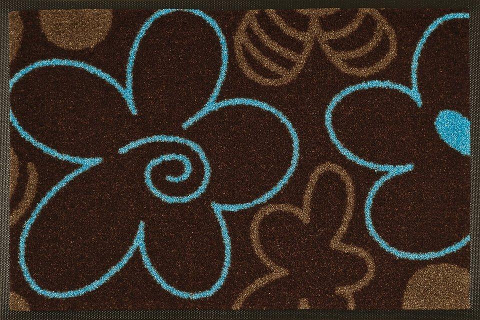 Fußmatte »Valentine«, wash+dry by Kleen-Tex, rechteckig, Höhe 7 mm in braun-blau