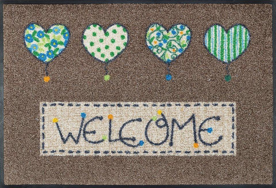 Fußmatte »Welcome Hearts«, WASH + DRY BY KLEEN-TEX, rechteckig, Höhe 9 mm in braun-grün