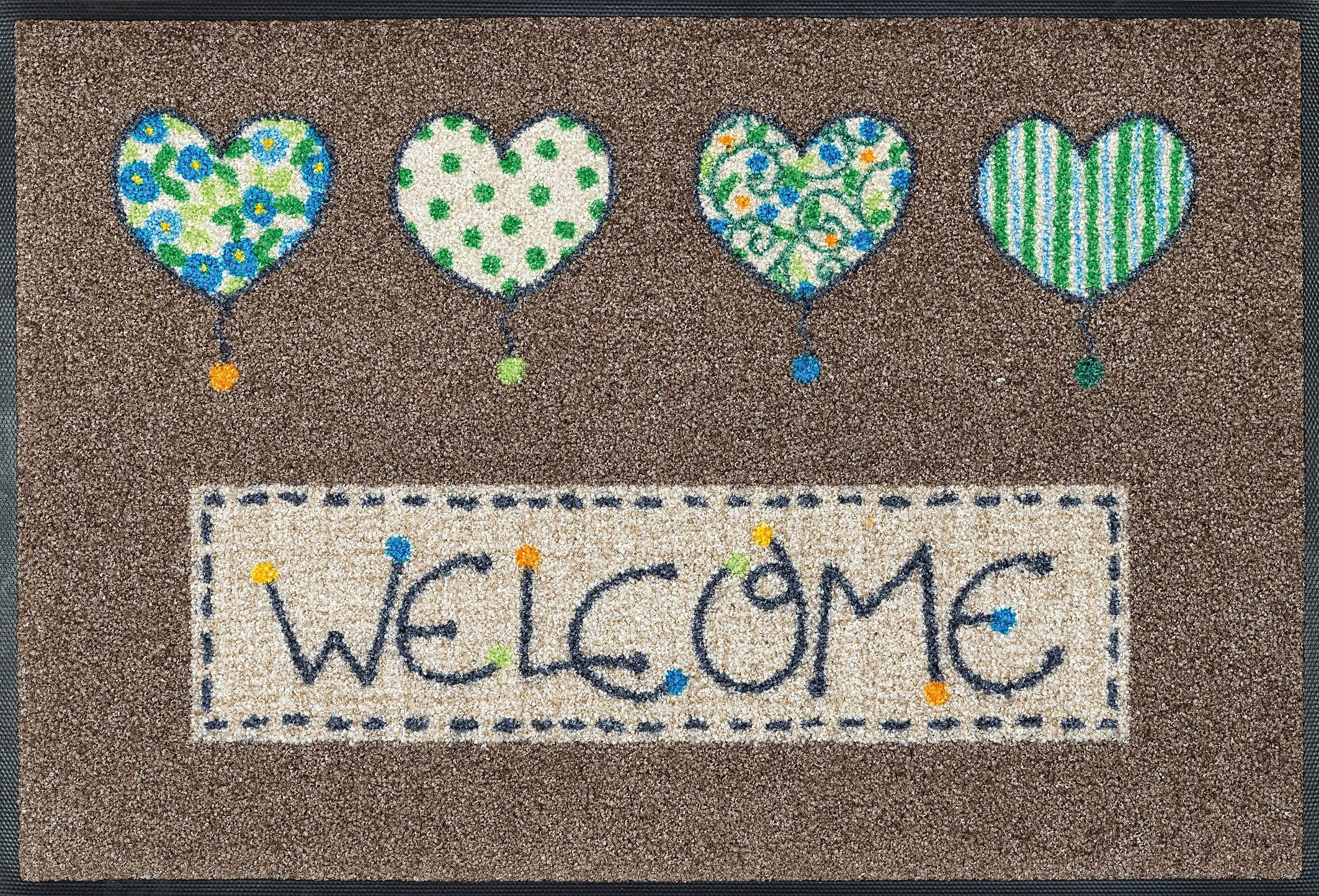 Fußmatte »Welcome Hearts«, wash+dry by Kleen-Tex, rechteckig, Höhe 9 mm