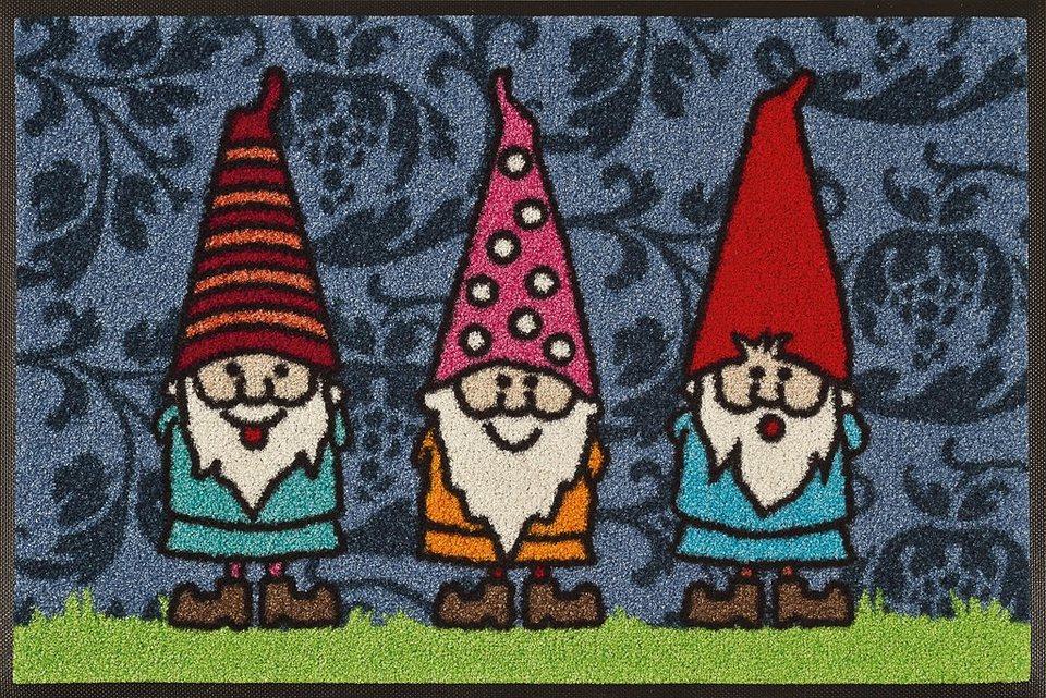 Fußmatte, wash+dry by Kleen-Tex, »Gartenzwerge«, rutschhemmend beschichtet in multicolor