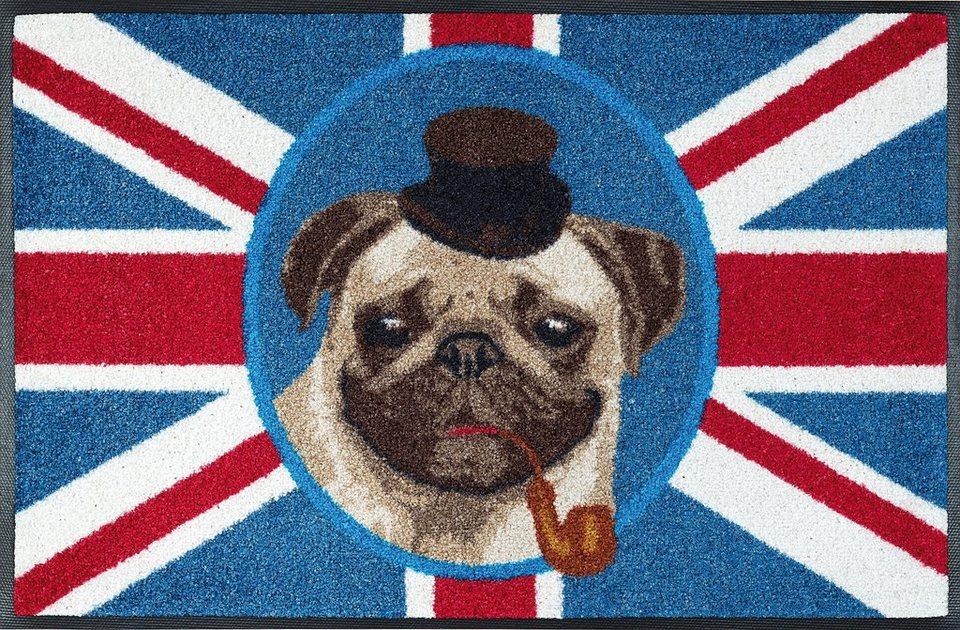 Fußmatte, wash+dry by Kleen-Tex, »British Pug«, rutschhemmend beschichtet in multicolor
