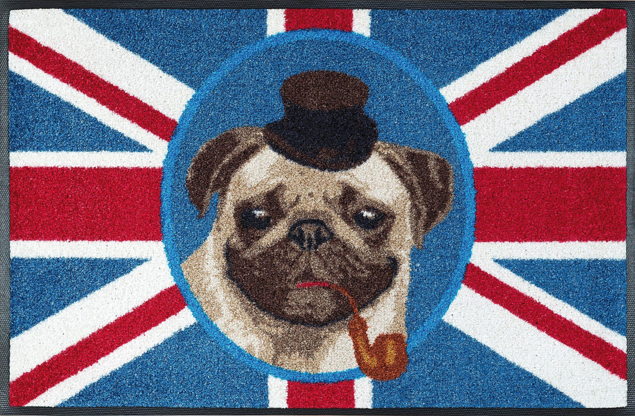 Fußmatte »British Pug«, wash+dry by Kleen-Tex, rechteckig, Höhe 9 mm