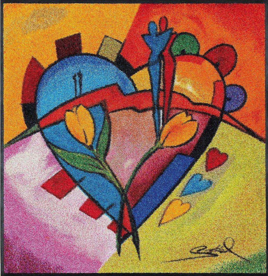 Fußmatte, wash+dry by Kleen-Tex, »balanced love ll«, rutschhemmend beschichtet in multicolor