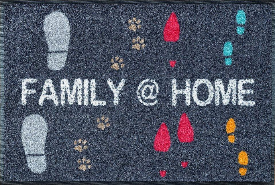 Fußmatte »Family @ Home«, WASH + DRY BY KLEEN-TEX, rechteckig, Höhe 9 mm in bunt