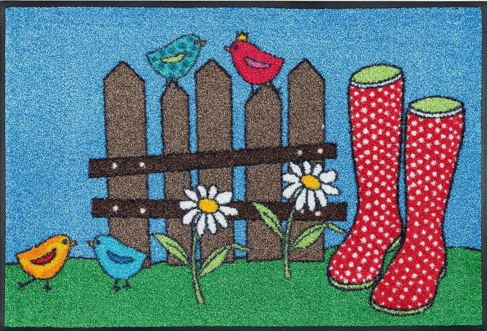 Fußmatte »Happy Boots«, wash+dry by Kleen-Tex, rechteckig, Höhe 7 mm in bunt