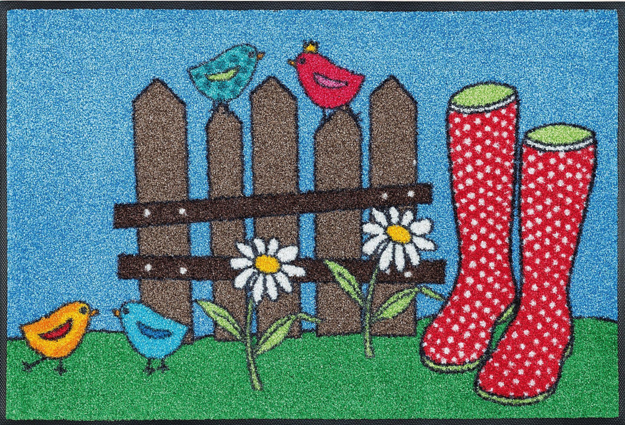 Fußmatte »Happy Boots«, wash+dry by Kleen-Tex, rechteckig, Höhe 7 mm