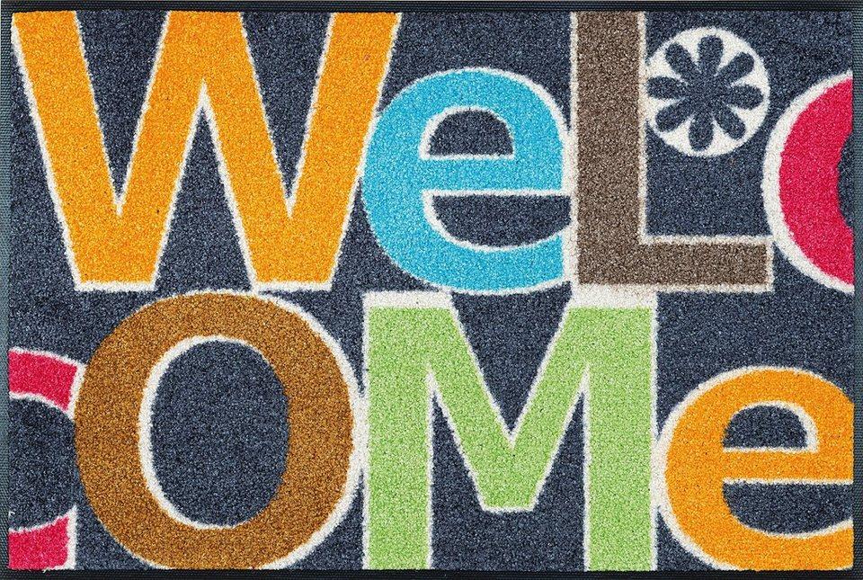 Fußmatte, wash+dry by Kleen-Tex, »Welcome Letters«, rutschhemmend beschichtet in multicolor
