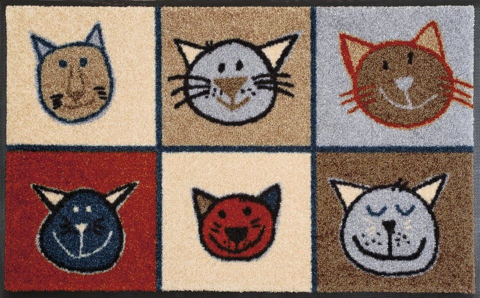Fußmatte, wash+dry by Kleen-Tex, »Miau Miau«, rutschhemmend beschichtet in multicolor