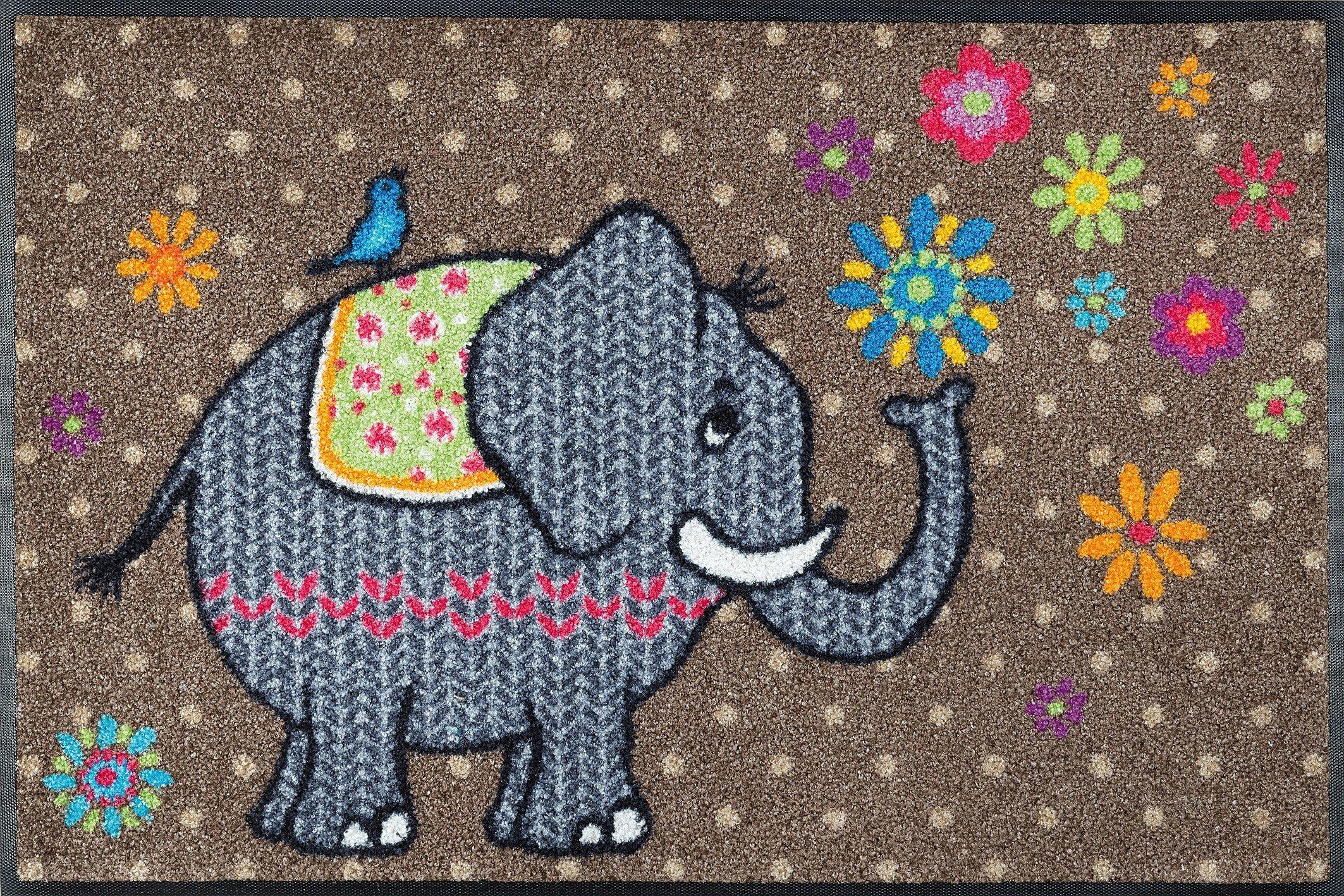 Fußmatte »Flower Elephant«, wash+dry by Kleen-Tex, rechteckig, Höhe 9 mm