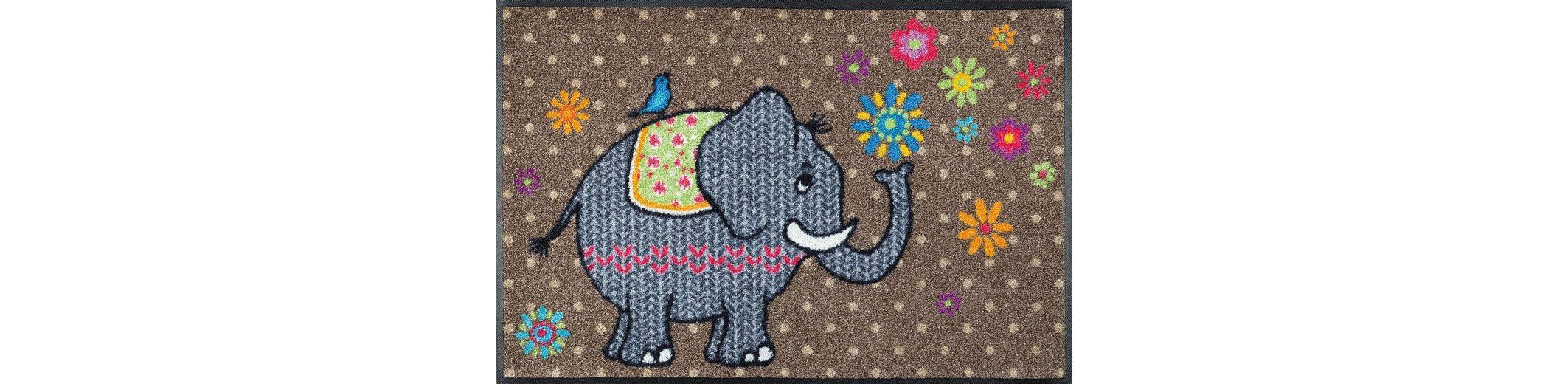 Fußmatte, wash+dry by Kleen-Tex, »Flower Elephant«, rutschhemmend beschichtet