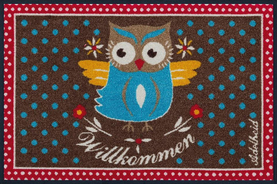 Fußmatte, wash+dry by Kleen-Tex, »Eule«, rutschhemmend beschichtet in multicolor