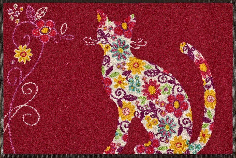 Fußmatte, wash+dry by Kleen-Tex, »Flower Cat«, rutschhemmend beschichtet in multicolor