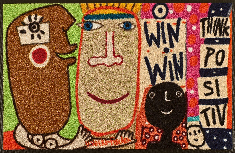 Fußmatte »Think Positiv«, wash+dry by Kleen-Tex, rechteckig, Höhe 7 mm