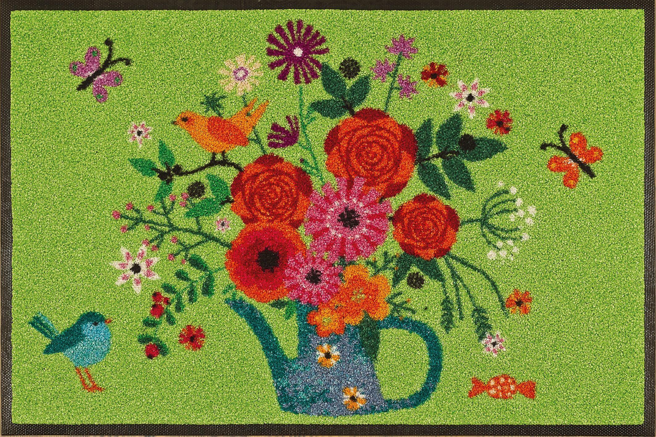 Fußmatte »Bouquet of Flowers«, wash+dry by Kleen-Tex, rechteckig, Höhe 9 mm