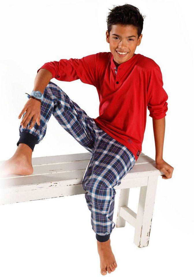 H.I.S Pyjama, Oberteil mit unterlegter Knopfleiste, Webhose mit Bündchen am Beinsaum in rot