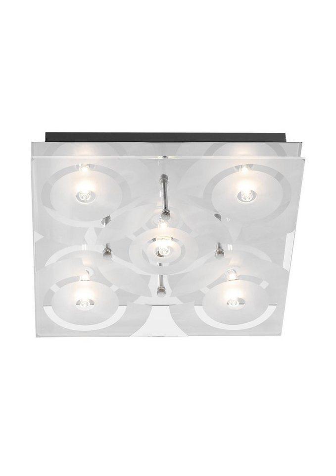 Halogen-Deckenlampe, Leuchten Direkt (5flg.) in silber